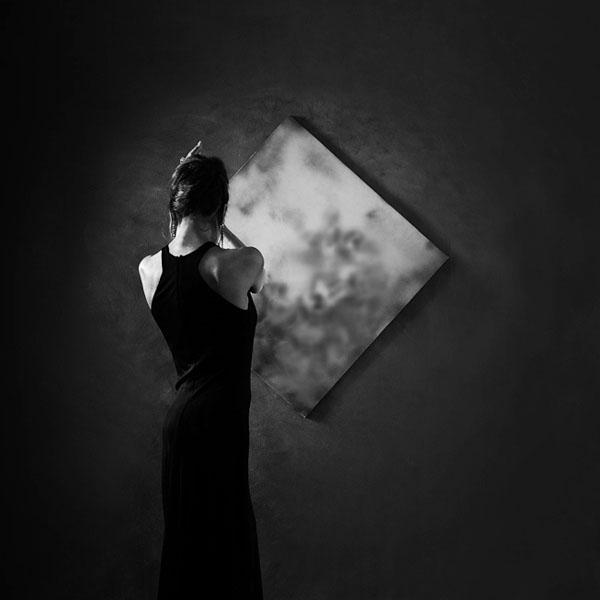 фотосессия в черном платье креативные черно белые