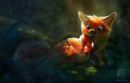 Фото Лиса с забавной мордой, поймала в лесу мышку от компьютера. Художник Silly Beast