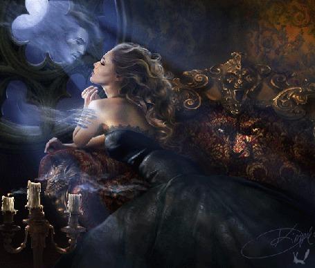 Фото Девушка сидит на живом диване и прощается с призраком своего возлюбленного у окна, художница Drazenka Kimpel / Драженка Кимпел