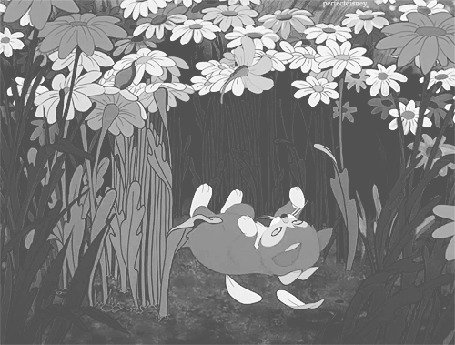Фото Котенок играет с ромашкой, момент из мультика Alice in Wonderland / Алиса в стране чудес