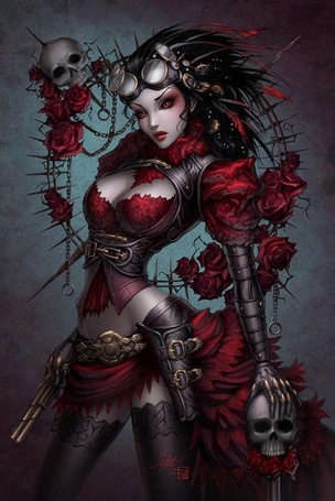 Фото Девушка в стиле стимпанк с красными глазами, держит в одной руке череп, в другой пистолет, художник Sabinerich