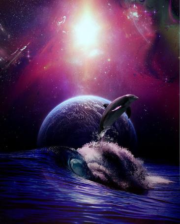 Фото Дельфин выпрыгивающий из воды на фоне полной луны и космоса, художник Emerald-Depths