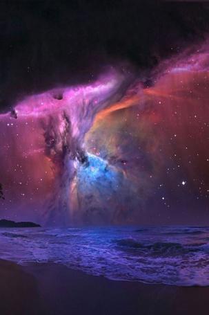 Фото Космическое небо над морем