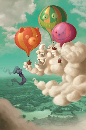 Фото Облако играет с воздушными шарами, иллюстратор Gerald Guerlais / Геральд Герлен