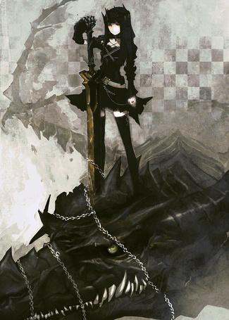 Фото Dragon Slayer / Убийца Драконов из аниме Стрелок с Черной скалы / Black Rock Shooter пленила дракона, опоясав его голову цепью
