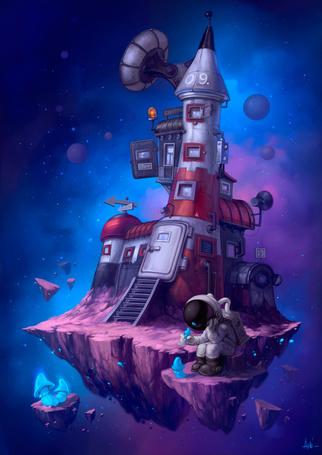 Фото На астероиде, затерянном в бескрайнем космосе стоит космический корабль, а рядом ребенок в скафандре собирает странные грибы
