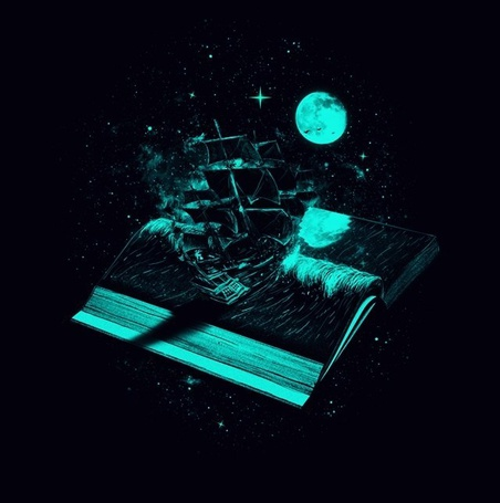 Фото Корабль выплывает из книги лунной ночью