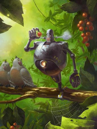 Фото Одноногий робот с номером Р9 - 0, стоя на ветке, пытается рассмотреть сорванную ягоду, за ним с интересом наблюдают две птицы, художник Szymon Biernacki / Шимон Бернацкий