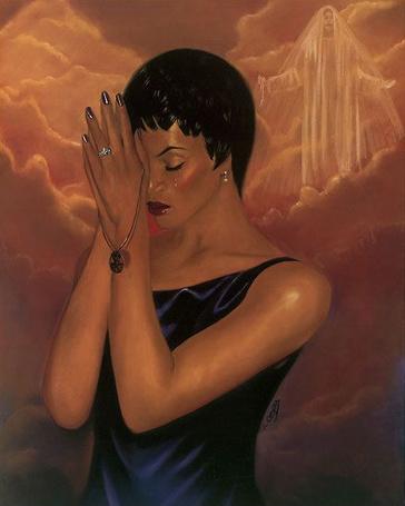 Фото Девушка держит руки у головы, тихо молясь, художница Laurie Cooper (© zmeiy), добавлено: 07.06.2013 17:17