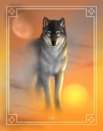 Фото Волк стоит на фоне неба, на котором находятся солнце и луна