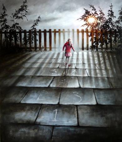 Фото Девочка, играющая в классики, художник Bob Barker / Боб Баркер