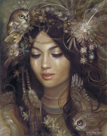 Фото Девушка с цветами в волосах и две совы, art by PinkParasol (© Krista Zarubin), добавлено: 09.06.2013 13:31