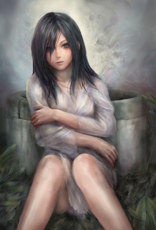 Фото Sadako / Садако из Звонка / Звонок / The Ring сидит возле колодца, арт / art by Miche