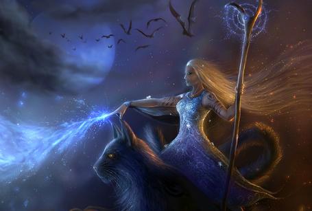 Фото Девушка с посохом в руке колдует, сидя на большой кошке. Ночь, Луна, скрывающаяся за облаками, летают летучие мыши