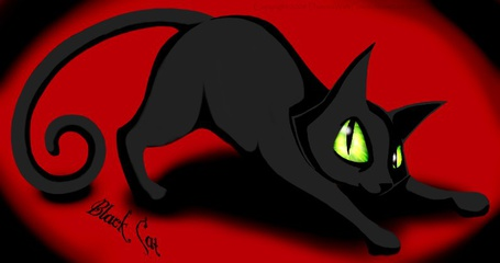 Фото Черная кошка на черно-красном фоне (© chucha), добавлено: 11.06.2013 00:22