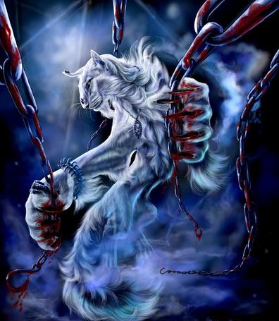 Фото Фэнтези - волк кровяными лапами держится за цепи покрытые кровью, художник BlackMystica (© ytyz), добавлено: 11.06.2013 07:24
