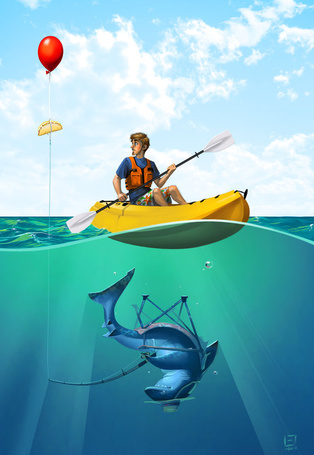Фото Мужчина плывет на каное, заметив красный воздушный шарик, на котором подвешен сэндвич, под водой на него пытается охотиться акула, сидящая с удочкой на стуле, художник Eksafael (© Seona), добавлено: 11.06.2013 15:54