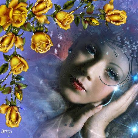 Фото Девушка на фоне желтых роз, художница Pat Brennan / Пат Бреннан