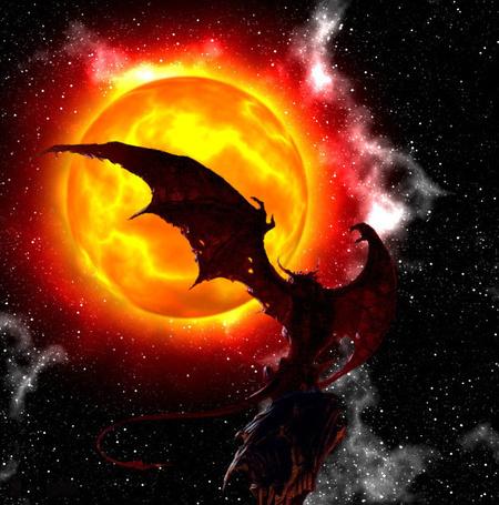 Фото Дракон расправил крылья на фоне солнца в космосе, вокруг большие звезды