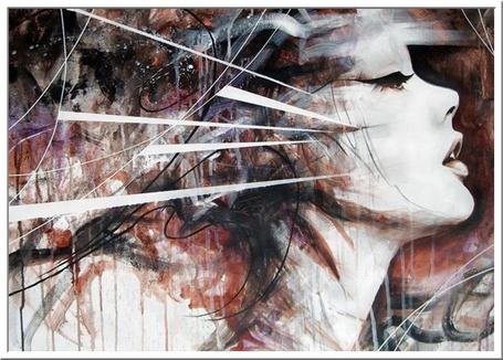 Фото Профиль девушки в стиле - абстракционизм. Художник Danny O'Connor / Данни O'Коннор