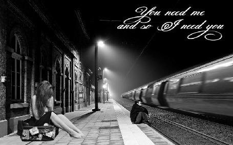 Фото Грустная девушка сидит на чемодане на ночном вокзале, мимо едет поезд (Yiu need me and I need you / Ты нужен мне, а я нужна тебе)