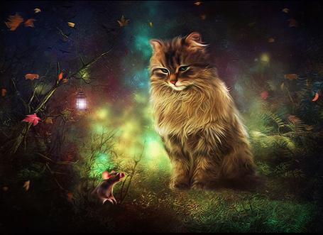 Фото Кошка сидит в ночном лесу и следит за мышью, выползающей из своей норы, художник BreathlessMelodyArt