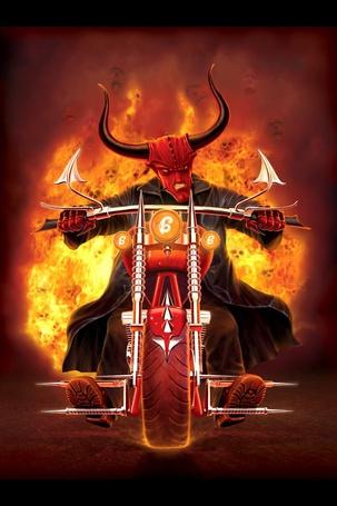 Фото Дьявол, со зверским выражением лица, едет на мотоцикле, сзади горит огонь