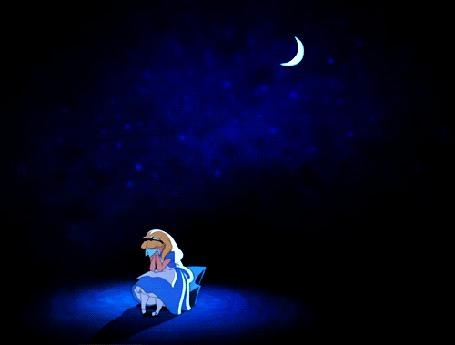 Фото Алиса, из мультфильма Alices Adventures in Wonderland / Алиса в стране чудес, сидит на поляне, ночью, и плачет, над ней месяц - улыбка Чеширского кота