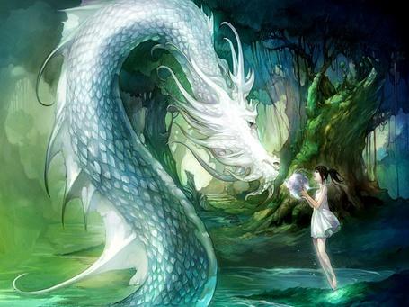 Фото Девушка протягивает воду белому дракону в красивом лесу