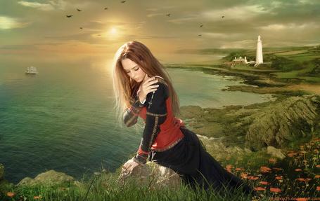 Фото Девушка на фоне заката над морем, фото-арт от художника Titus