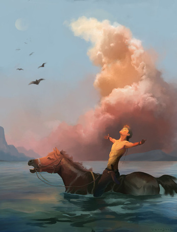 Фото Мужчина, сидя на лошади у берега моря, раскинул руки в стороны, на фоне неба, облаков и улетающих птиц, художник WaitingForEmma