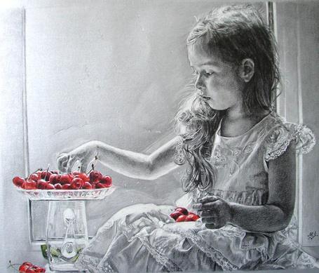 Фото Девочка берет черешню из вазочки, художник Maria Zeldis