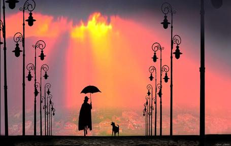 Фото Силуэты девушки с зонтом и пса, идущих по дороге, вдоль фонарей, фотохудожник Игорь Зенин