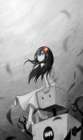 Фото Девушка с красным цветком в волосах сидит на роботе, на котором написано Hope / Надежда