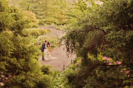 Фото Девушка в белом платье и свадебным букетом в руке, целуется с мужчиной среди деревьев на аллее