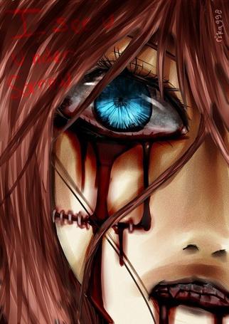 Фото Девушка с голубыми глазами, из которых течет кровь