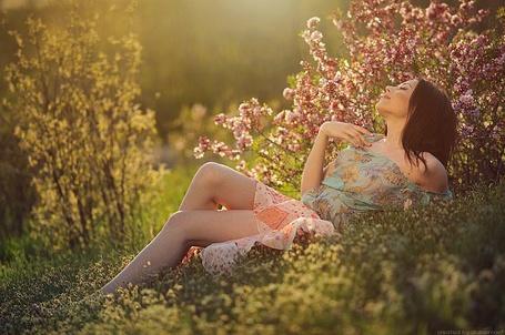 Фото Девушка наслаждается летним теплом в розовых цветах