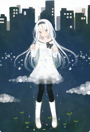 Фото Девушка держит в руках звезды, полумесяцы и тучу, из которой идет дождь, поливая землю, из которой прорастают зеленые ростки