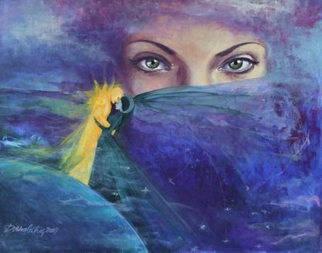 Фото На фоне девушки с закрытым лицом, мужчина и девушка в объятиях, художник Dorina Costras