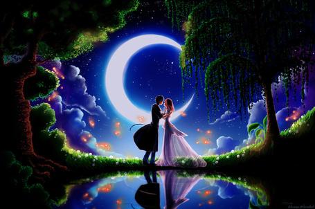 Фото Свидание влюбленных парня и девушки на фоне полного месяца и ночного парка, художник Chibionpu