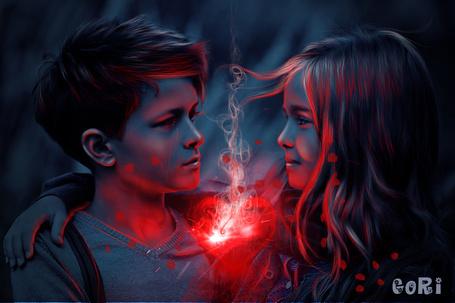 Фото Девочка обняла мальчика рукой и между ними светит красное огненное сердце, из которого выходит дым, художник GORI89