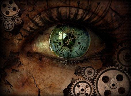 Фото Женский глаз, в котором виден механизм часов