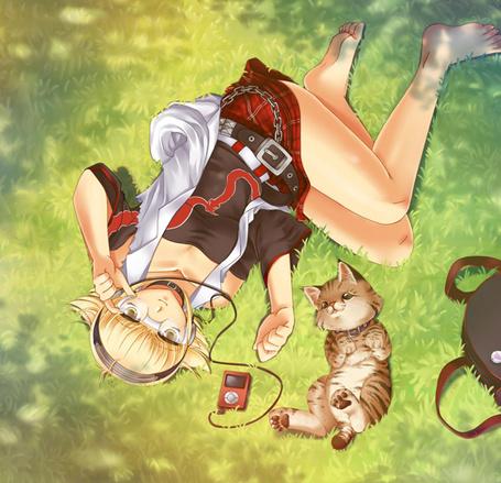 Фото Девушка в очках лежит на траве, слушая музыку, рядом лежит кошка