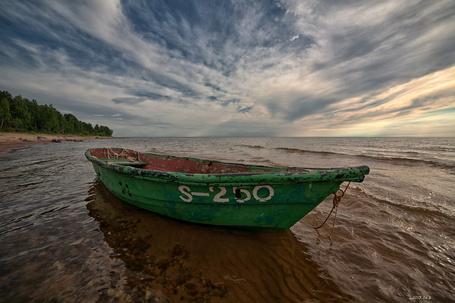 Фото Старая заброшенная лодка с надписью S-250 недалеко от берега, на фоне природы