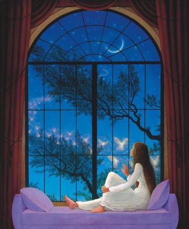 Фото Девушка сидит на диване и смотрит в окно, где летают эльфы, художник Гилберт Уильямс