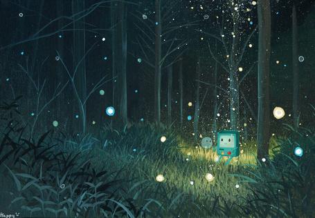 Фото Маленький прибор сидит в лесу и общается с пузырем, окруженный светлячками (© ), добавлено: 30.06.2013 10:42