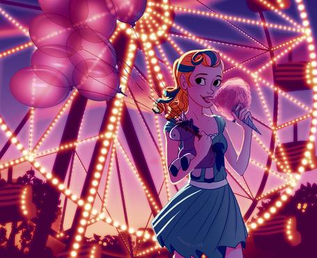 Фото Девочка с мягкой игрушкой - единорогом, воздушными шарами и сладкой ватой стоит около колеса обозрения, художница B1nd1