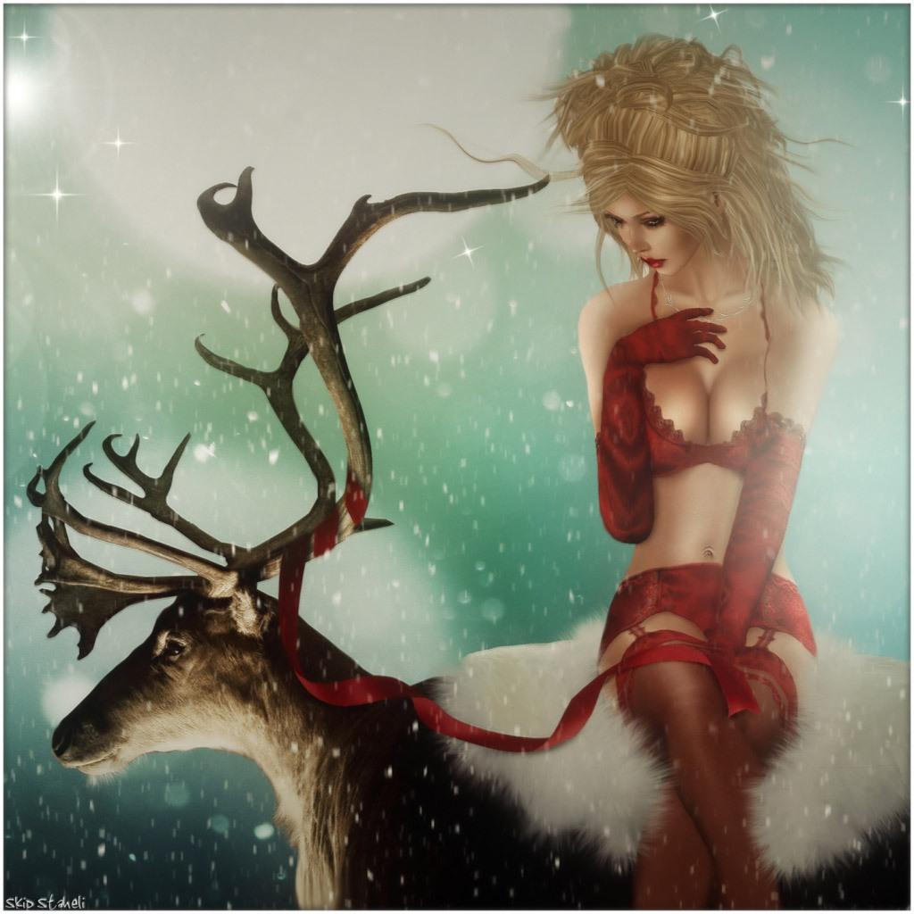 Девушка в красном платье и чулках фото