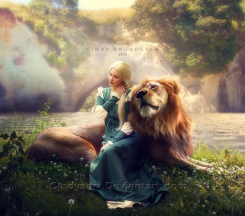 Фото Девушка со львом сидят у реки, работа CindysArt: http://photo.99px.ru/photos/115608/