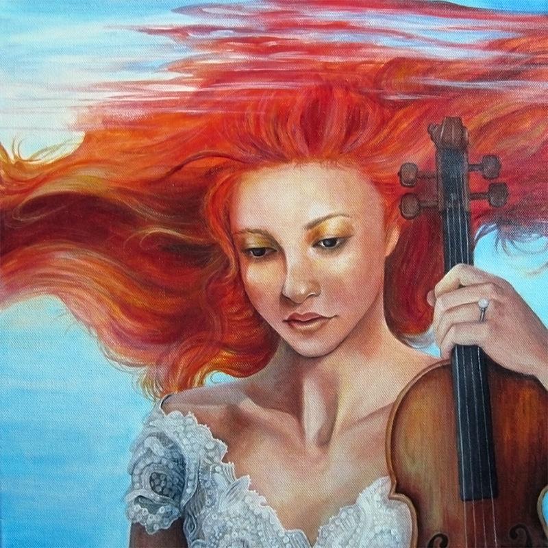 фото рыжая нарисованная девушка